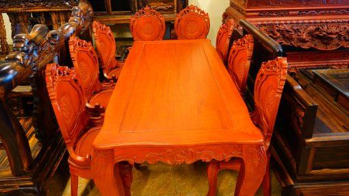 bàn ghế ăn 9 món gỗ gõ đỏ (3)
