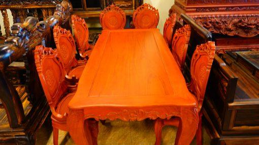 bàn ghế ăn 9 món gỗ gõ đỏ (4)