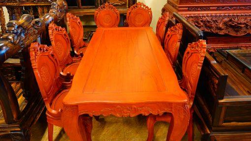 bàn ghế ăn 9 món gỗ gõ đỏ (5)