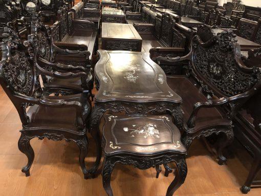 bàn ghế louis tựa thủng khảm ốc (1)