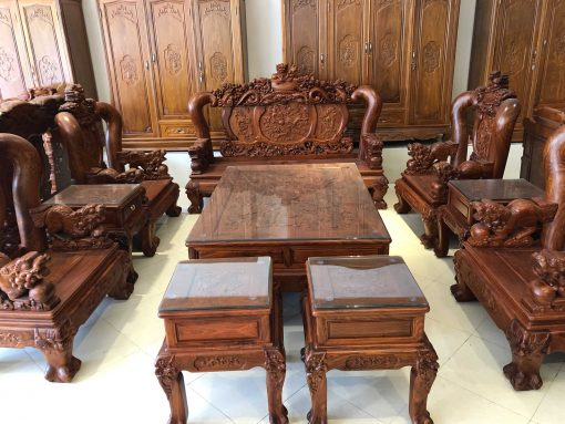 bàn ghế nghê đỉnh gỗ hương vân (2)