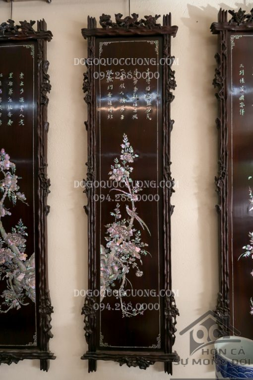 Tứ quý khung trúc gỗ gụ khảm Tùng Cúc Trúc Mai
