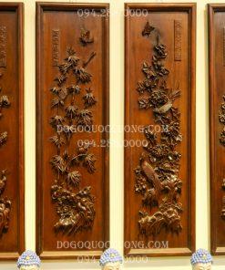 Tranh tứ quý tùng cúc trúc mai gỗ gụ