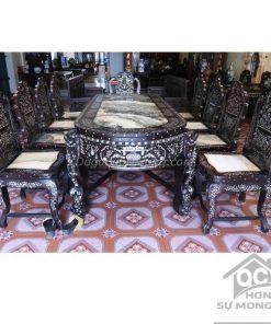 Bộ bàn ghế ăn 11 món khảm ốc xà cừ