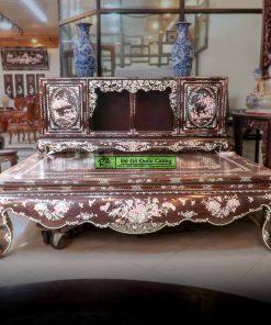 Sập gụ tủ chè gỗ gụ khảm liên chi - Bảo Áp Xuyên Liên - Hàng cao cấp đang được trưng bày tại Dogoquoccuong