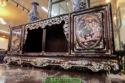 Sập gụ tủ chè gỗ gụ khảm liên chi - Bách Điểu Triều Phụng - Hàng cao cấp đang được trưng bày tại Dogoquoccuong