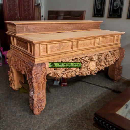 Bàn thờ gỗ gụ đục mai điểu (Mộc). Bàn thờ nhị cấp mẫu đại với chân 24 to lớn
