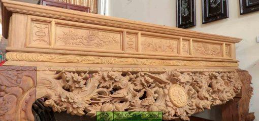 Bàn thờ gỗ gụ đục mai điểu (Mộc). Hàng mẫu đại với chân 24 to lớn