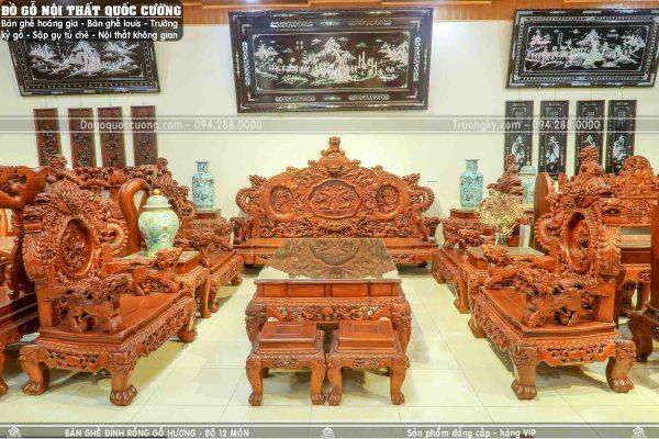 Bộ rồng đỉnh gỗ hương 12 món siêu VIP