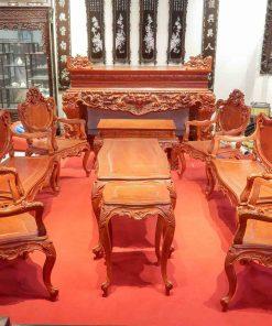 Bàn ghế Louis gỗ hương bộ 9 món