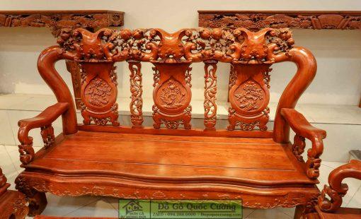 Bộ bàn ghế Minh Voi gỗ hương vân tay 14