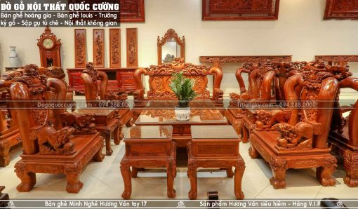 Bộ bàn ghế Minh Nghê gỗ hương vân tay 17 - Hàng V.I.P