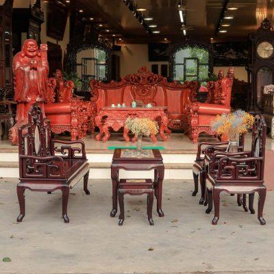 Bàn ghế móc mỏ 6 món gỗ gụ giá rẻ
