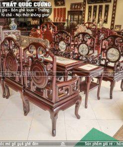 Bàn ghế móc mỏ gỗ gụ mặt đá 6 ghế đơn