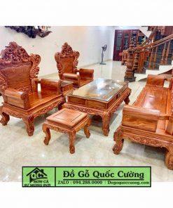 Bàn ghế Hoàng Gia giá rẻ gỗ hương đục tựa giả nệm mẫu 3