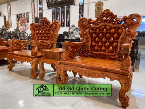 Bàn ghế Hoàng Gia giá rẻ gỗ hương đục tựa giả nệm mẫu 2