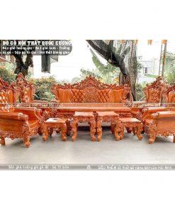 Bàn ghế hoàng gia đục giả nệm gõ đỏ mẫu đặc biệt của Hải Minh